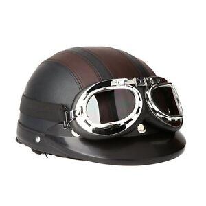 Casco-de-Moto-Scooter-Vintage-Retro-Cuero-Ajustable-Visera-Gafas-y-Bufanda-Marro