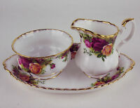 Sm Cream Sugar Bowl + Regal Tray Royal Albert Old Country Roses Vintage England