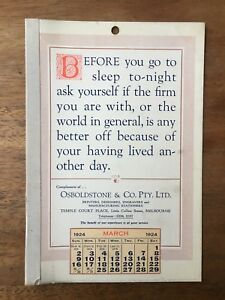 ANTIQUE-MARCH-1924-CALENDAR-OSBOLDSTONE-CO-MELBOURNE-PRINTER-VINTAGE-CARD