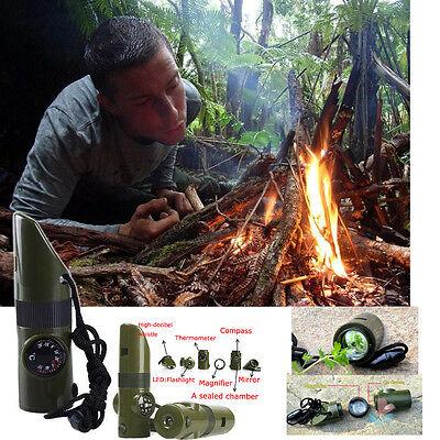 Hot 7 in 1 Camping  Rettungspfeife Notfallpfeife Kompass Termometer Licht Neu