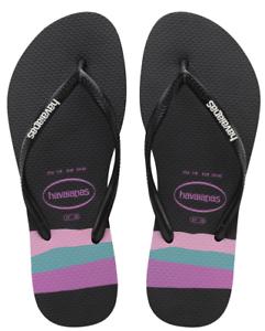 Havaianas Women`s Flip Flops Slim Organic Sandals Black Sandal Floral Print NWT