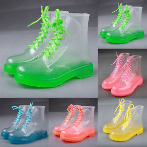 2635e76b8624 Women Clear Jelly Rain Boots Lace Low Ankle Flat Rubber Wellies ...