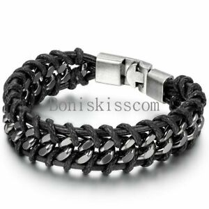 Black-Braided-Leather-Silver-Stainless-Steel-Cuban-Chain-Men-039-s-Bracelet-Bangle