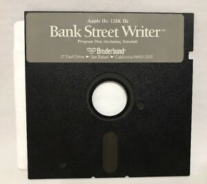 Bank-Street-Writer-Apple-II-Broaderbund-IIc-128k-IIe-Program-Floppy-Disk-VTG