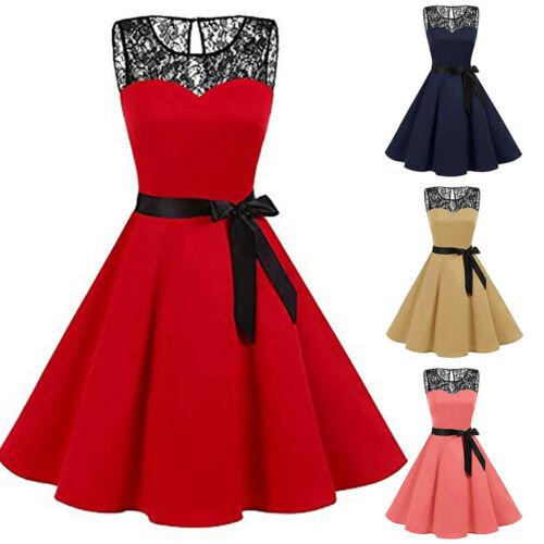 Women/'s Sleeveless Lace Hepburn Vintage  Swing Sashes High-Waist Pleated Dress