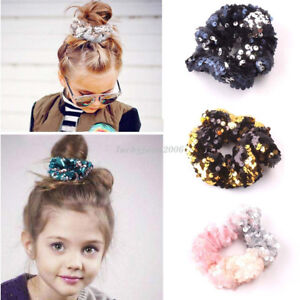 Kids-Girl-Sequin-Hair-Band-Rope-Ring-Scrunchie-Tie-Ponytail-Holder-Elastic-New