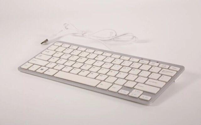 White GMYLE/® Ultra Thin Wired USB Mini Keyboard Metallic Silver