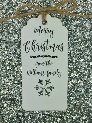 Personalised Christmas Card// Gift Tag Tree Tie Wrap Xmas Party Present