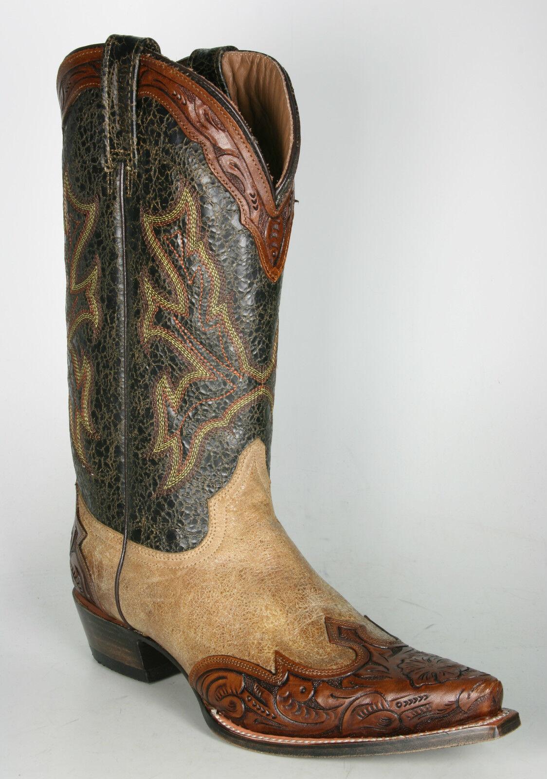 140029000 Mezcalero Cowboystiefel Crater Gold Punziertes Leder Handmade