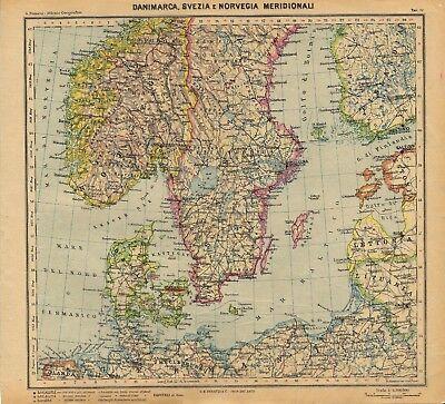 Cartina Della Norvegia Da Stampare.Carta Geografica Antica Danimarca Svezia Norvegia Paravia 1941 Antique Map Ebay