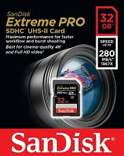 SanDisk 32GB 280MB/s 32G Extreme PRO SD SDHC Card Class 10 UHS-II U3 4K Memory