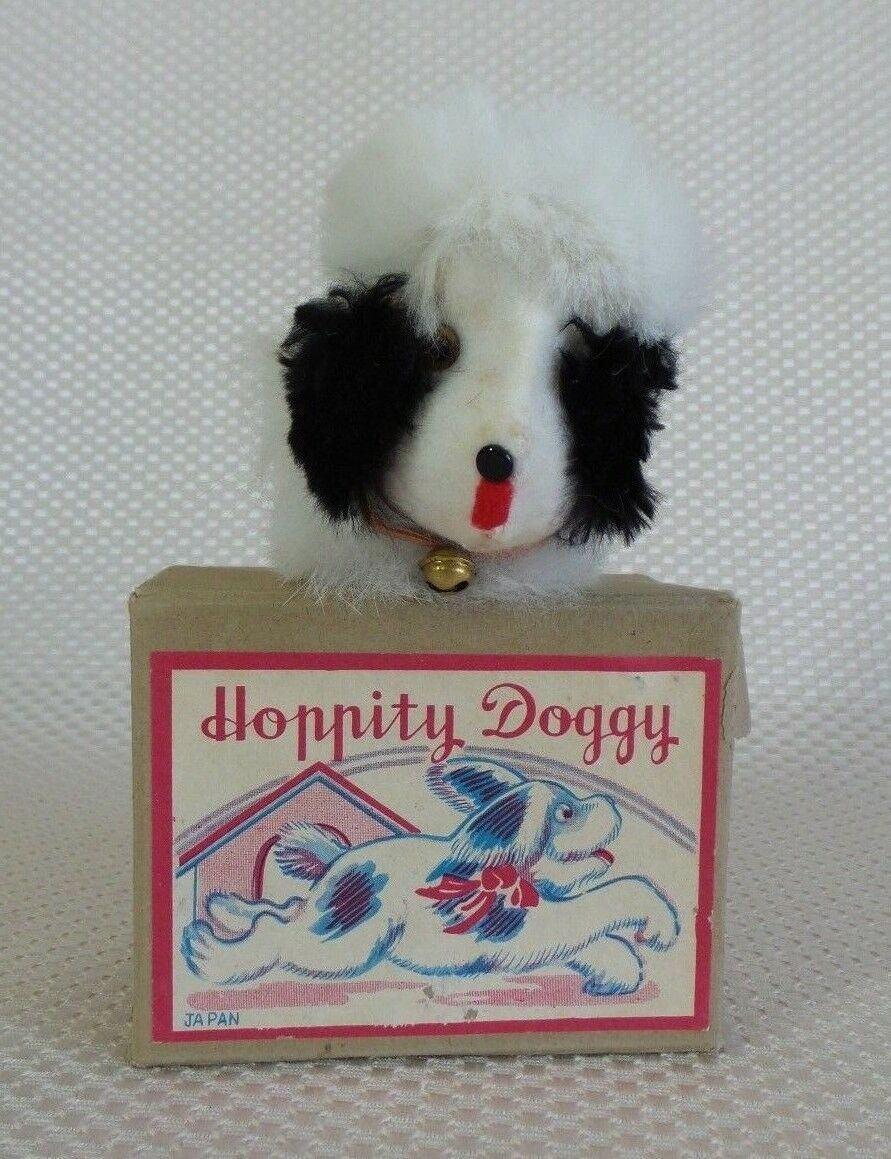 Gran VENDIMIA 1950 60s Japón ocupado Hoppity Perrito Cuerda Toy-En funcionamiento
