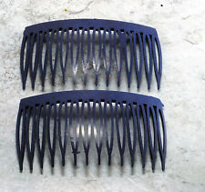 Vintage Hair Combs Blue Pair Side Comb Plastic Hair Accessory