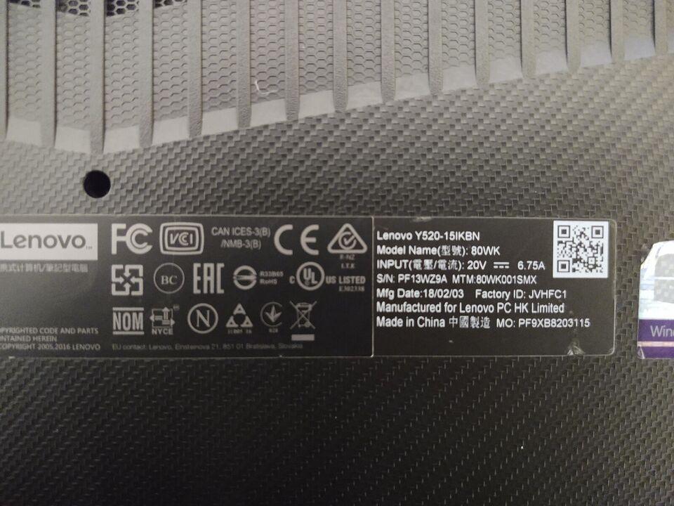 Lenovo Y520 GAMING, Intel Core i5-7300HQ GHz, 8 GB ram