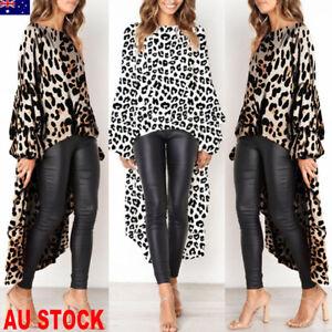 hot-Women-039-s-Irregular-Leopard-Print-Long-Sleeve-Blouse-Long-Tops-Dress-T-Shirt