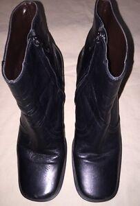 Etienne-Aigner-Black-Lthr-Ankle-Boots-Sq-Toe-Heels-1-5-034-Womens-Sz-7-5-M-7-1-2