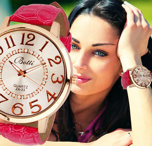 Womens-Fashion-Numerals-Golden-Big-Dial-Leather-Analog-Quartz-Retro-Wrist-Watch