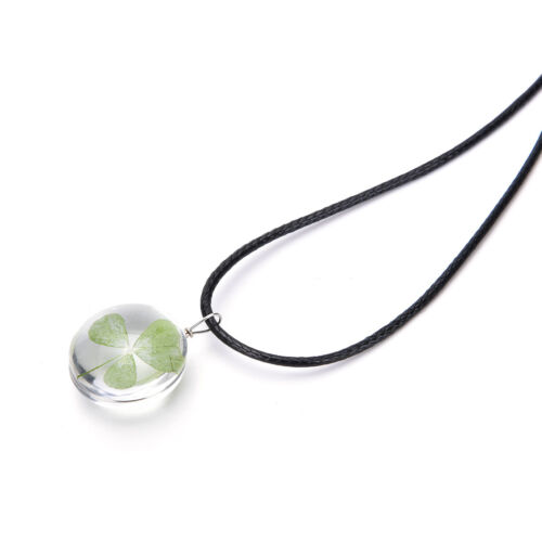Real Green Lucky Shamrock Four Leaf Clover Round Pendant Necklace Friend CYCA