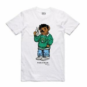 BRAND NEW Streetwear on Demand BEAR PABLO WHITE Tee Shirt SMALL-3XLARGE ESCOBAR