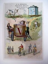 J.S Jenkins Alphabet Victorian Trade Card for Letter V w/ A Vat of Grapes  *