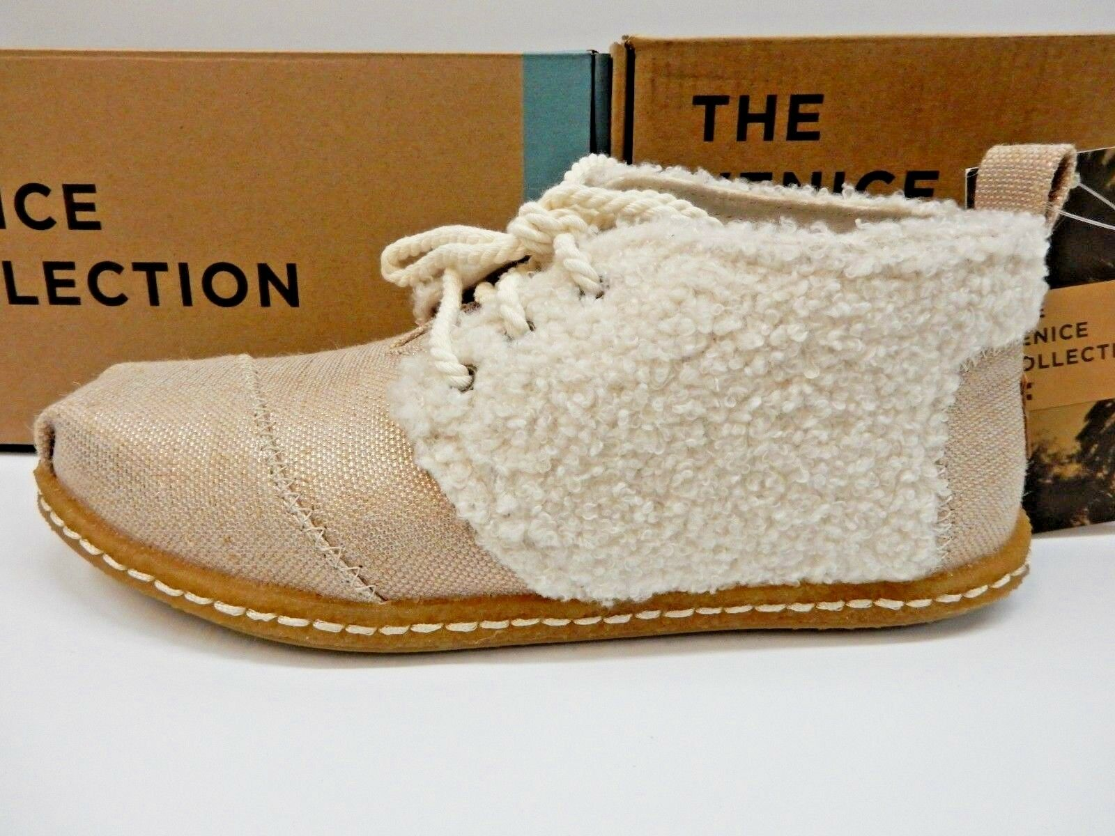 TOMS SHEARLING WOMENS BOTA BOOTS NATURAL PLUSH FAUX SHEARLING TOMS ON CREPE SIZE 8.5 a303f5