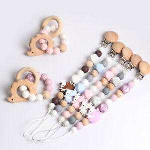 Herisson-Hetre-silicone-perles-bebe-dentition-Bracelet-Dummy-sucette-chaine-Clips