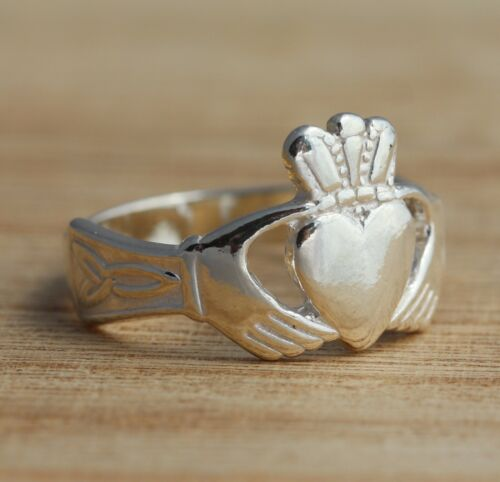 Solid 925 Sterling Silver Claddagh Band Ring Various Sizes Celtic Jewellery