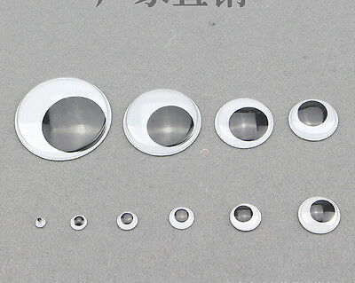 100pcs 20mm round wiggly wobbly googly eyes self-adhesive peel sticker