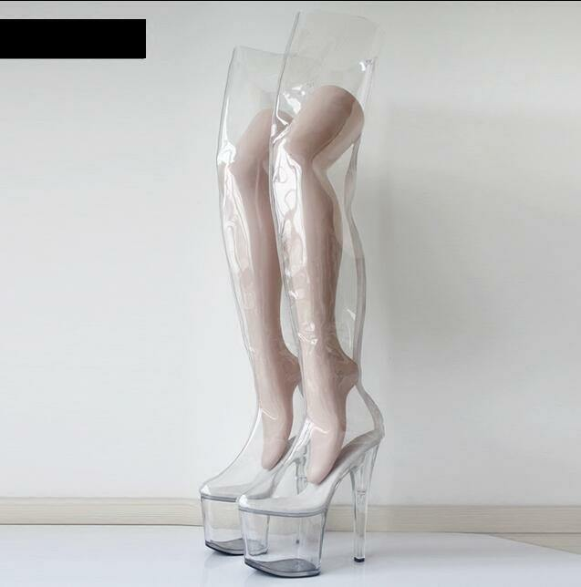 Donna Transparent Over Over Transparent Knee Hight Boots Stilettos High Heel Platform Sexy Shoes db7085