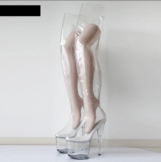 Donna Transparent Over Over Transparent Knee Hight Boots Stilettos High Heel Platform Sexy Shoes db7085