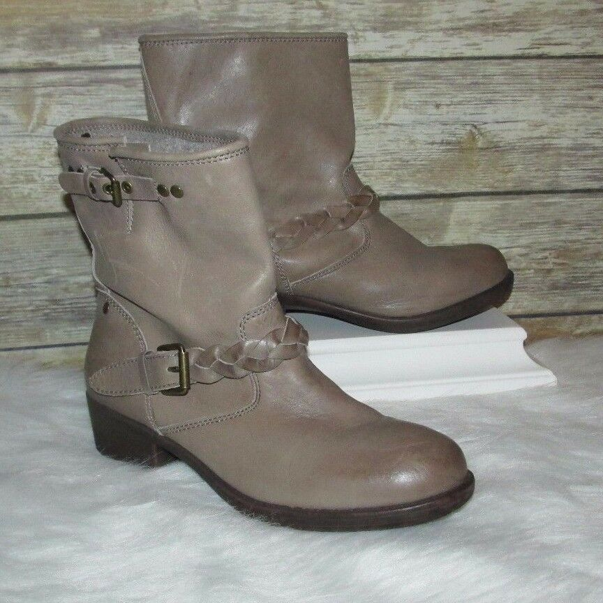 REPORT Bernsen Taupe Brown Leather Sz 9 Distressed Biker Buckle Ankle Boots