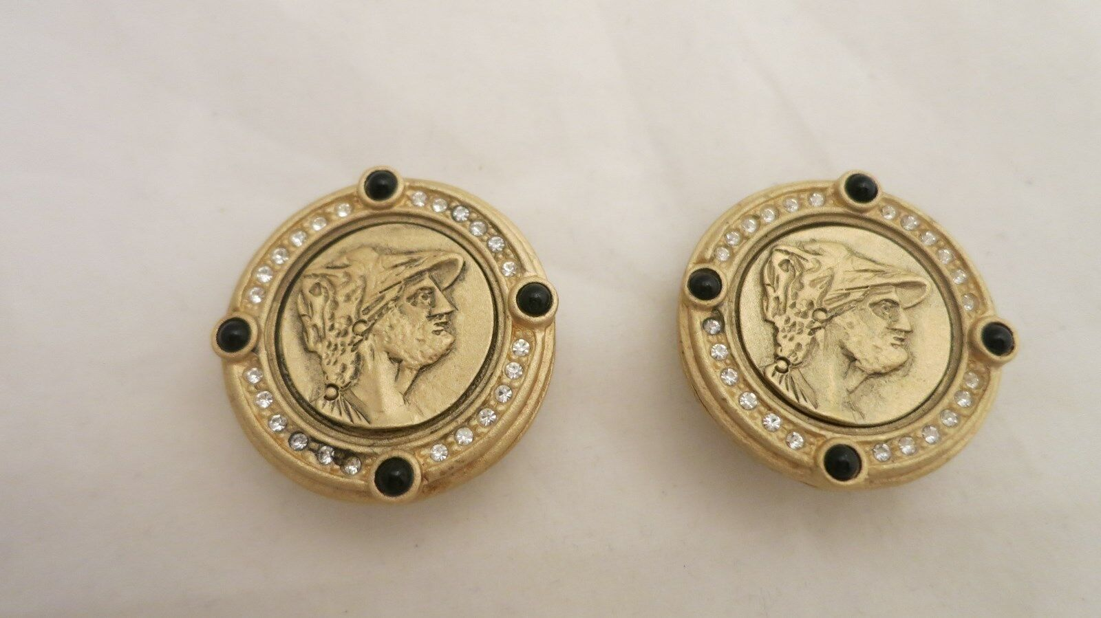 Vintage Large Rhinestone & Onyx Encircled Greek Coin Clip On Earrings