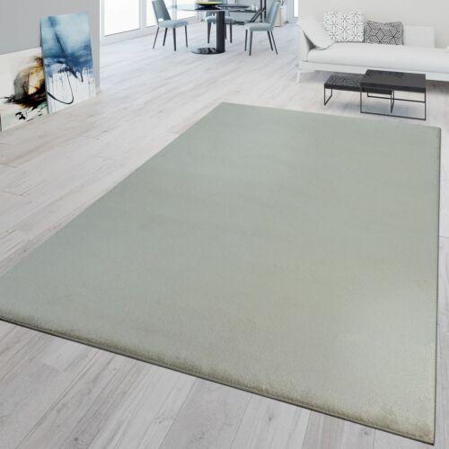 Kurzflor Teppich Wohnzimmer Waschbar Strapazierfähig Meliert Einfarbig In Creme