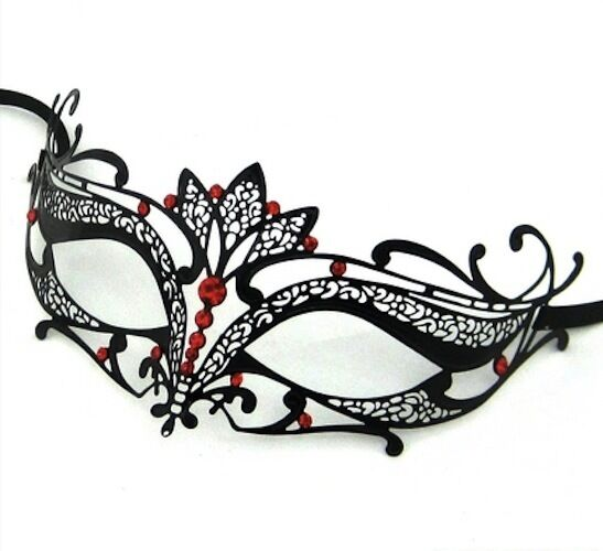 Black With Red Stones Metal Filigree Masquerade Mask VERONA Fancy Dress Party