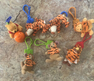 Lot-Of-7-McDonald-s-Happy-Meal-Toys-Disney-Winnie-the-Pooh-PLUSH-Keychain-Clips