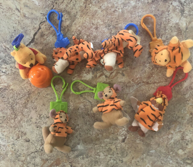 Lot Of 7 McDonald's Happy Meal Toys Disney Winnie the Pooh PLUSH Keychain Clips