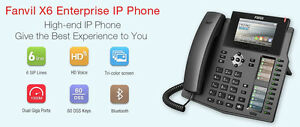 Fanvil X6S 6 Line Color VoIP SIP Phone Blutooth Headset perfect for 3CX