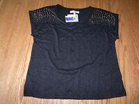 Womens Ellen Tracy Company Black Magic Short Sleeved Embellished Shirt 2xl