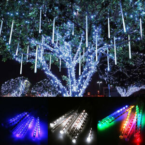 Snowing Christmas Lights.Details About 8 40 Tubes Led Meteor Shower Icicle Falling Snowing Christmas Lights Xmas Party