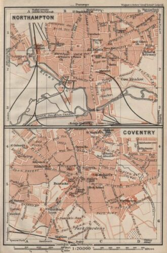 NORTHAMPTON /& COVENTRY town city plans Midlands 1906 old map Pre World War 2