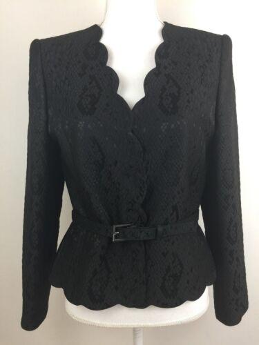 Albert Nipon Women's Belt Blazer Jacket Black Siz