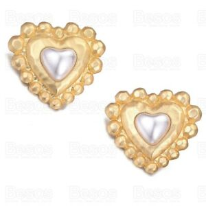 35mm FACETED MATTE GOLD FASHION EARRINGS large statement HEART PEARL UK GIFT