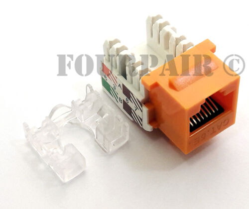 CAT5e RJ45 110 Punch Down Keystone Modular Snap-In Jacks 20 Pack Lot Orange