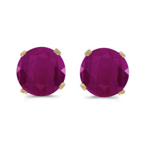 1-Carat-Total-Weight-Natural-Round-Ruby-Stud-Earrings-Set-in-14k-Yellow-Gold