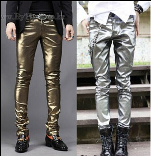 Hot Mens Gothic Costume Pants Stage Faux Leather Skiny Outwear Stylish Trousers