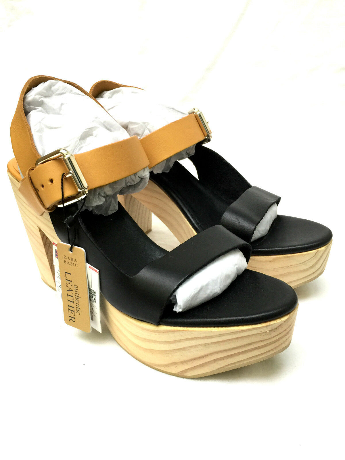 ZARA LEATHER WOODEN HEEL PLATFORM SANDALS SIZE UK8 NEW EUR41 US10   NEW UK8 911f4e