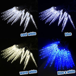 Details About Led Icicle Lights Outdoor Frozen Snowfall Christmas Lights Xmas Garden House Uk