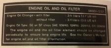 Kawasaki ZXR750 zxr750j 1992 De Aceite Del Motor Y Filtro Precaución Advertencia calcomanía