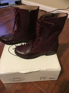 bac2ff7e89b Details about STEVE MADDEN TROOPA WINE LEATHER ANKLE BOOT SIZE 6.5