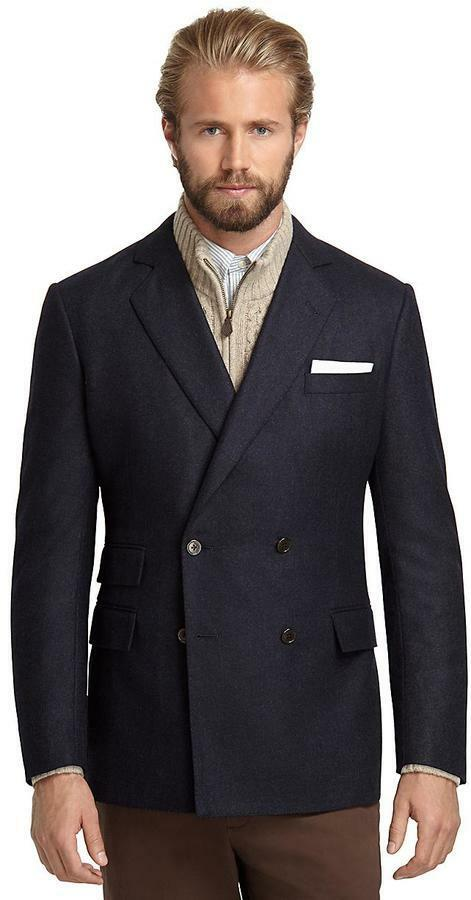 Brooks Bredhers Regent Fit Double Breasted Flannel Sports Coat   Size 38S   Navy
